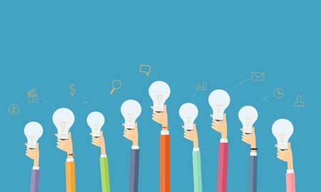 mensen creatief en brainstorm idee voor het bedrijfsleven Stock Illustratie