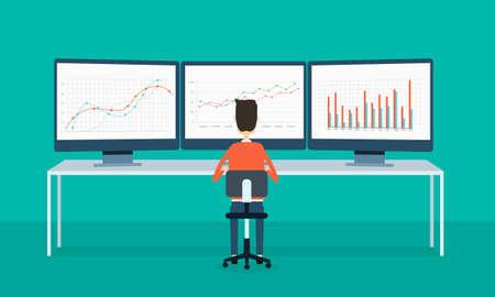 gestion empresarial: la gente de negocios sobre el informe del monitor gráfico y SEO en la web