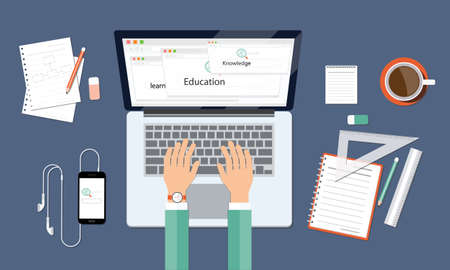 workspace: business leanning knowledge and education onlin workspace Illustration