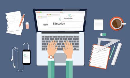business leanning knowledge and education onlin workspace Illusztráció