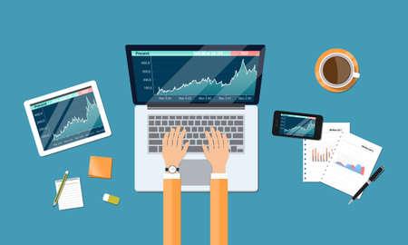 zakelijke financiële investering en geld grafiekrapport werkruimte