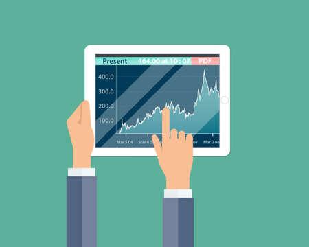 ビジネス金融投資とお金グラフ レポート デバイス上  イラスト・ベクター素材