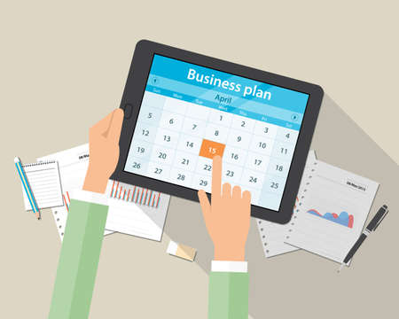event planning: business plan and marketing plan on mobile device