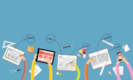 el trabajo en equipo de negocios y de intercambio de ideas para la web y el diseño de aplicaciones de diseño del espacio de trabajo Vectores