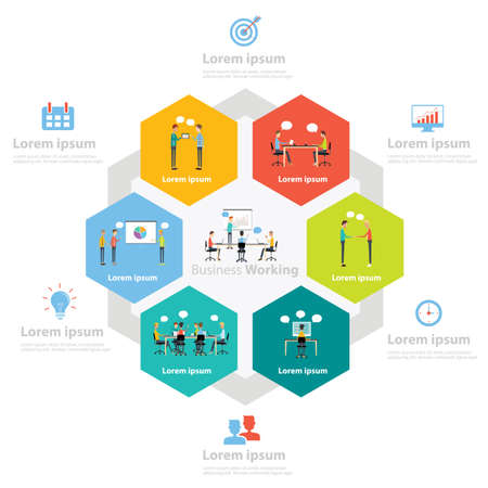 business presentation: infographic business working process concept Illustration