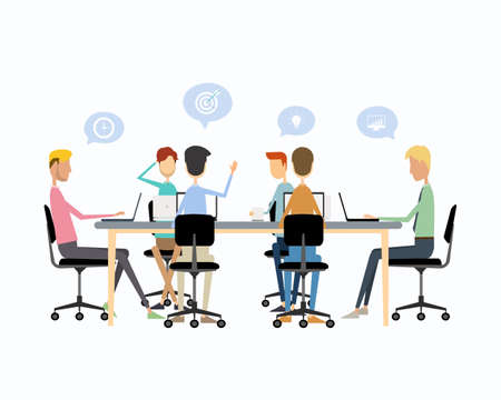 business teamwork meeting brainstorm and talking on work Ilustração