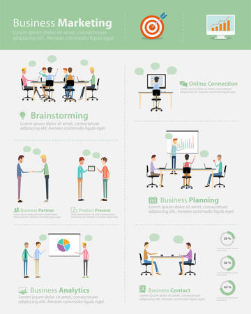 co work: infographic business marketing team on work process Illustration