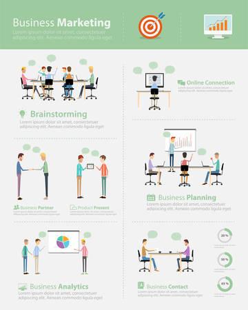 infographic business marketing team on work process Illustration
