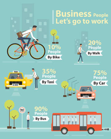 go: infographic business people lets go to work character Illustration