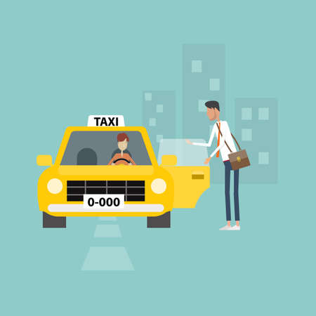 taxi cab: business man getting taxi go to work business in city Illustration