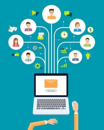 correo electronico: correo electr�nico de negocios conexi�n contenido de marketing en las personas de antecedentes Vectores