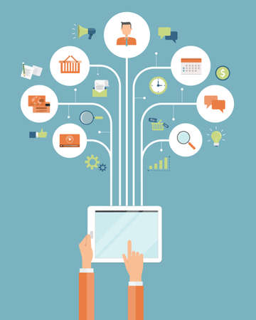 conexiones: compras negocio en línea. móvil concepto de conexión en línea