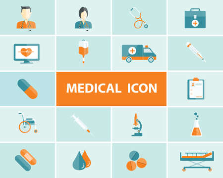 saline: flat medical and health icons vector background Illustration