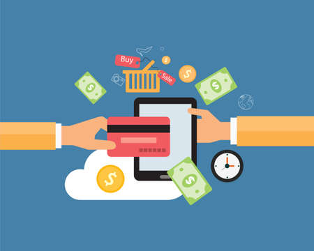 commerce communication: business online payment and shopping online concept