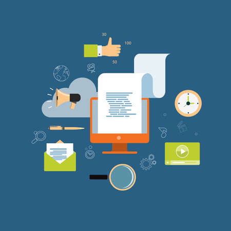 internet icons: digital content marketing for business online background Illustration