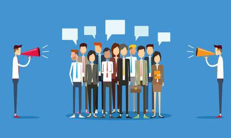 conflictos sociales: grupo de personas de negocios y marketing concepto de comunicación