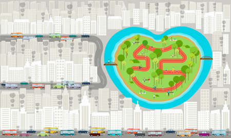 park in the city . traffic jam in city background Vector