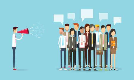 그룹 사람들이 비즈니스 및 마케팅 커뮤니케이션 배경 일러스트
