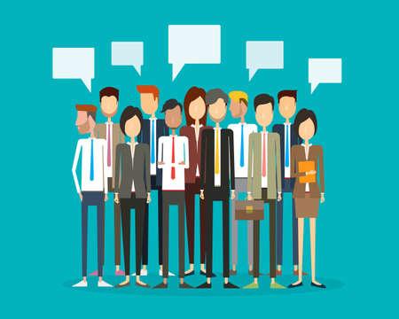 бизнес: группа людей бизнеса и взаимодействие бизнес Иллюстрация
