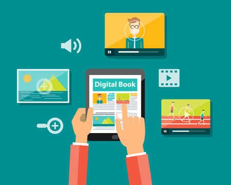비즈니스 디지털 책과 디지털 잡지의 개념 일러스트