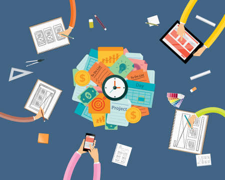 creative work: create to business project workspace and work pressing