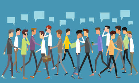 interaction: social business communication concept Illustration
