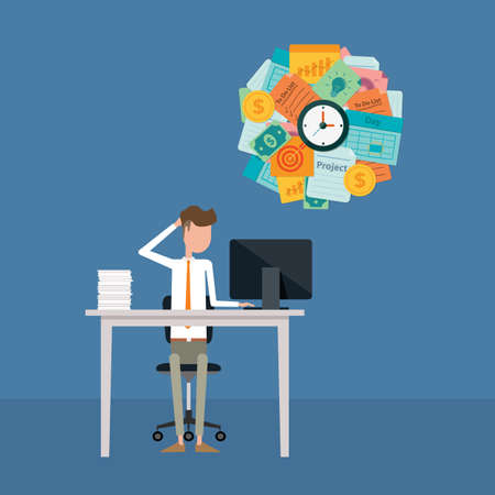 empleados trabajando: hombre de negocios ocupado y duro concepto de trabajo
