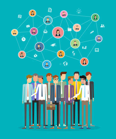 business communication: social business communication network concept .group people business .business connection Illustration
