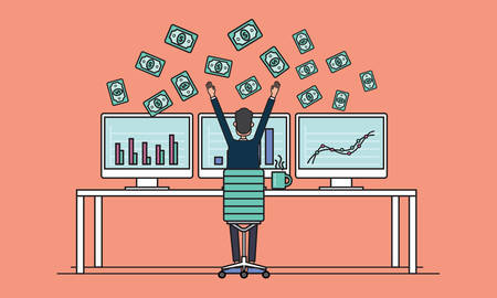 successes: business people earning for sale on line concept .business successes .people business on monitor