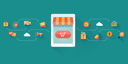 emarketing: business mobile on line shopping and emarketing .business ecommerce on device technology Illustration