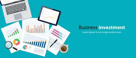 contabilidad: financiación de las empresas y la bandera de la inversión y el dispositivo móvil para analizar paper.graph business.report
