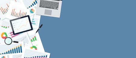 企業の財務および web バナー背景 concept.report paper.graph のための投資分析します。