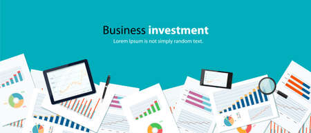 business finance and investment banner concept and mobile device for business.report paper.graph analyze Illustration
