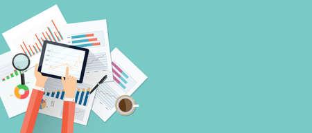 finanzas empresariales fondo de la bandera de inversión .business en el dispositivo móvil technology.report paper.graph analizar Ilustración de vector