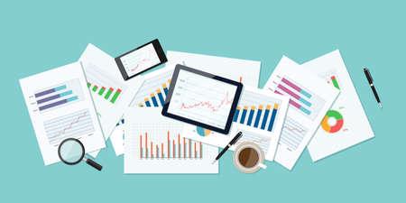 ビジネス金融と投資のバナーと business.report paper.graph でのモバイル デバイスの分析の背景
