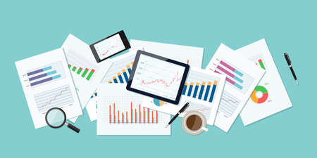 business finance and investment banner and mobile device for business.report paper.graph analyze background