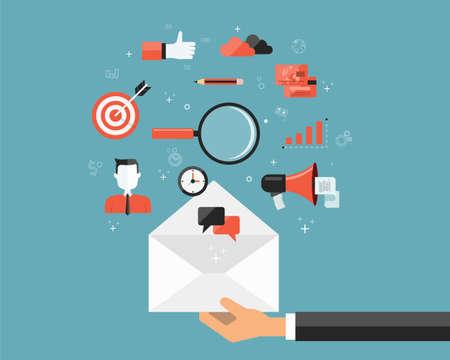 ビジネス メールのマーケティングとデジタル コンテンツの背景 .social ネットワーク通信 .web バナー