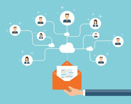 redes de mercadeo: negocio de correo electrónico de marketing de conexión en red de las personas background.social y la conexión de negocios Vectores