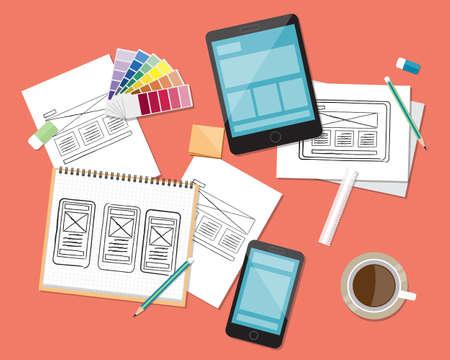 web サイトおよびアプリケーション設計ワークスペースの背景概念。デザインをスケッチ