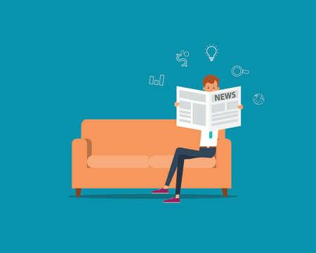 les gens d'affaires lisant le journal sur le canapé