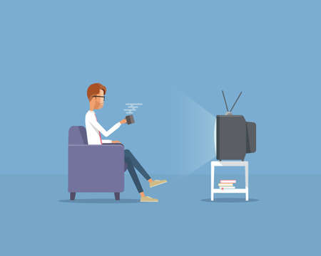 young businessman: business man watching television concept Illustration