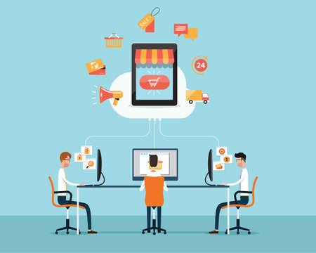 marketing strategy: business shopping on cloud concept Illustration