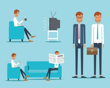 personas viendo television: hombre de negocios car�cter concepto Vectores