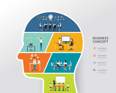 people business creative and brainstorming to business in human head concept Illustration