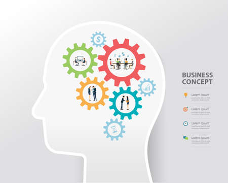 creative concept: business process and business creative in human head concept