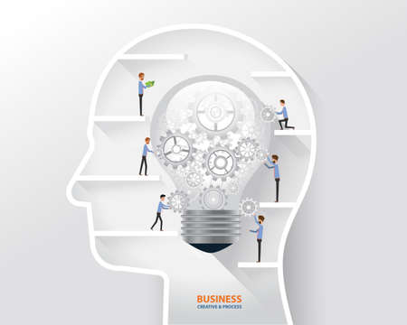 management concept: business people process and business creative in human head concept. light bulb in human head Illustration