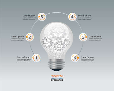 light bulbs: bulb infographic and business creative concept. gear brocess in light bulb.vector