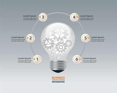 engranajes: infograf�a y el bulbo concepto creativo negocio. brocess marcha en bulb.vector luz