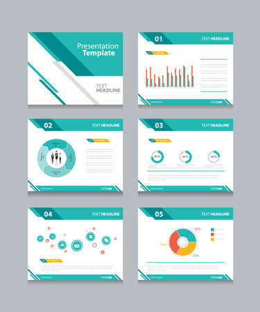 background: business presentation template set.