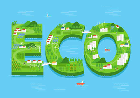 eco energy: vector eco green city concept. flat design.environment and ecology background